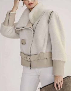 Womens-Shearling-Short-Biker-Jacket-With-Leather-Belt