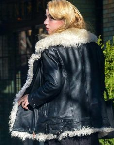 Ana-Taylor-Joy-Black-Leather-Fur-Jacket
