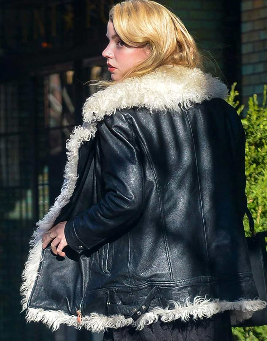 Ana-Taylor-Joy-Black-Leather-Fur-Jacket