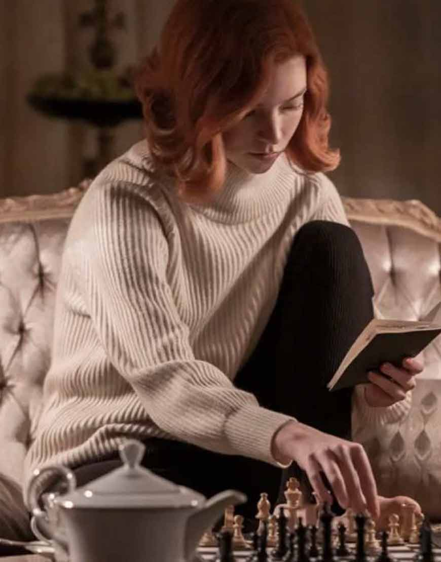 Anya Taylor Joy The Queen s Gambit Beth Harmon White Sweater