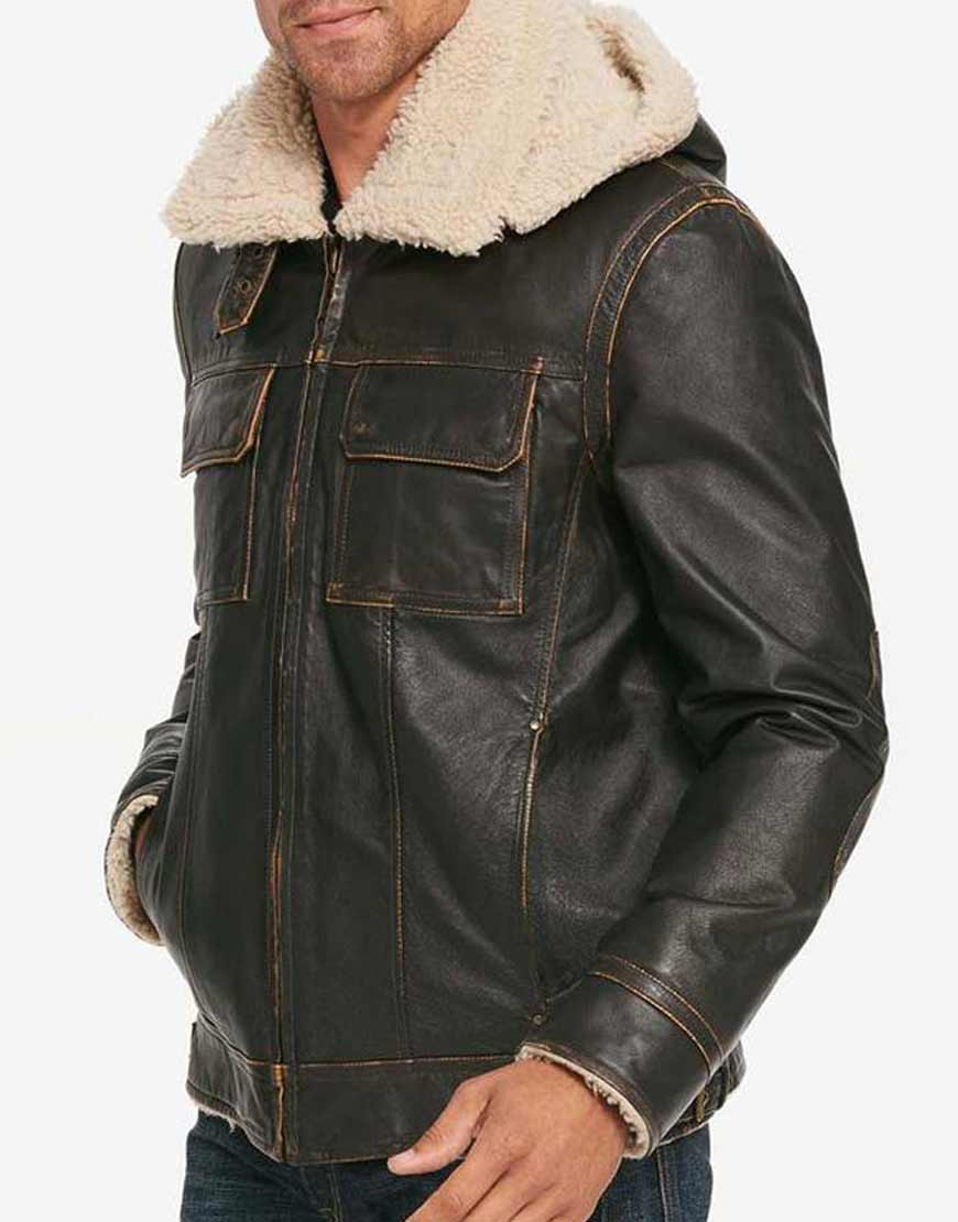 Brown-Waxed-Mens-Hooded-Aviator-Jacket