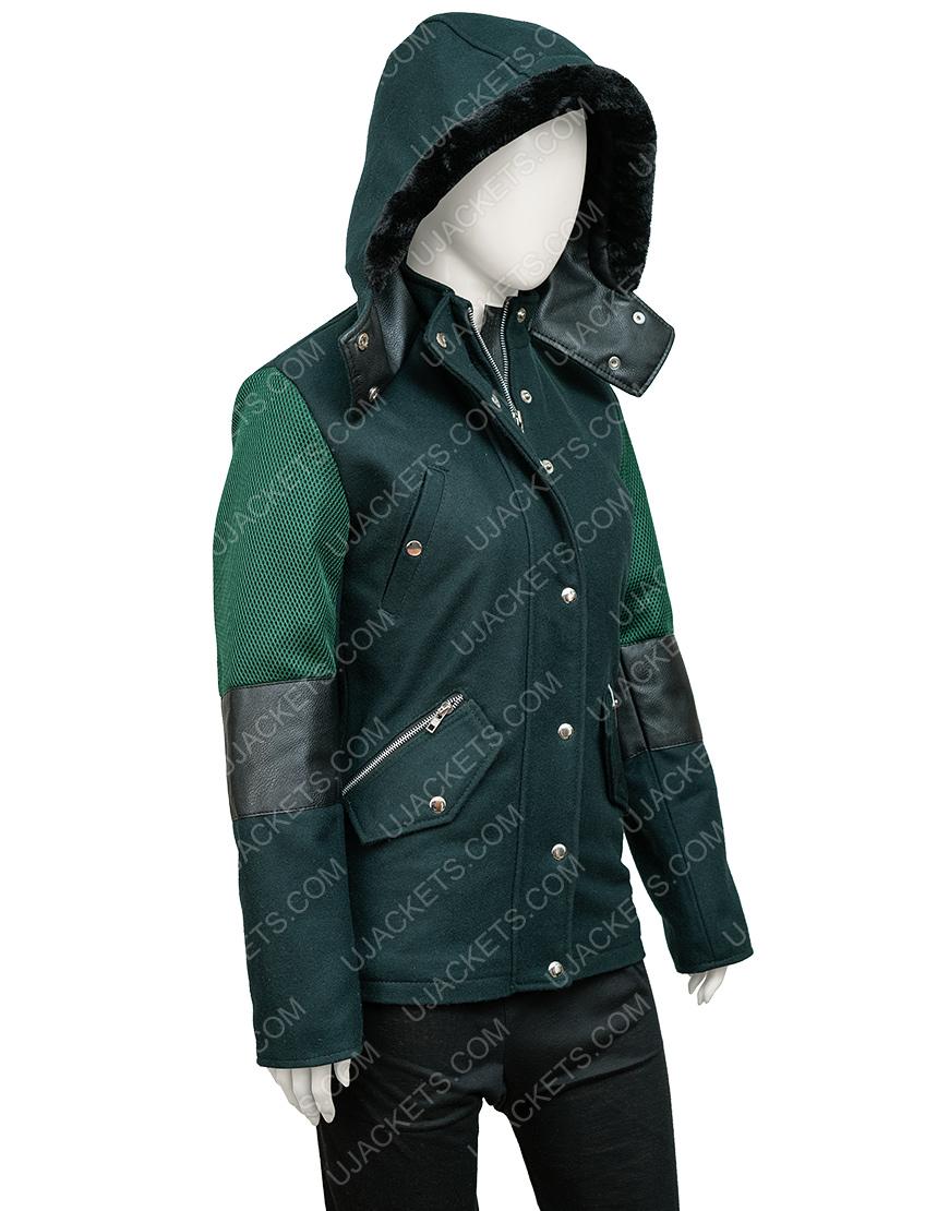 Christmas Unwrapped Charity Jones Hooded Green Coat