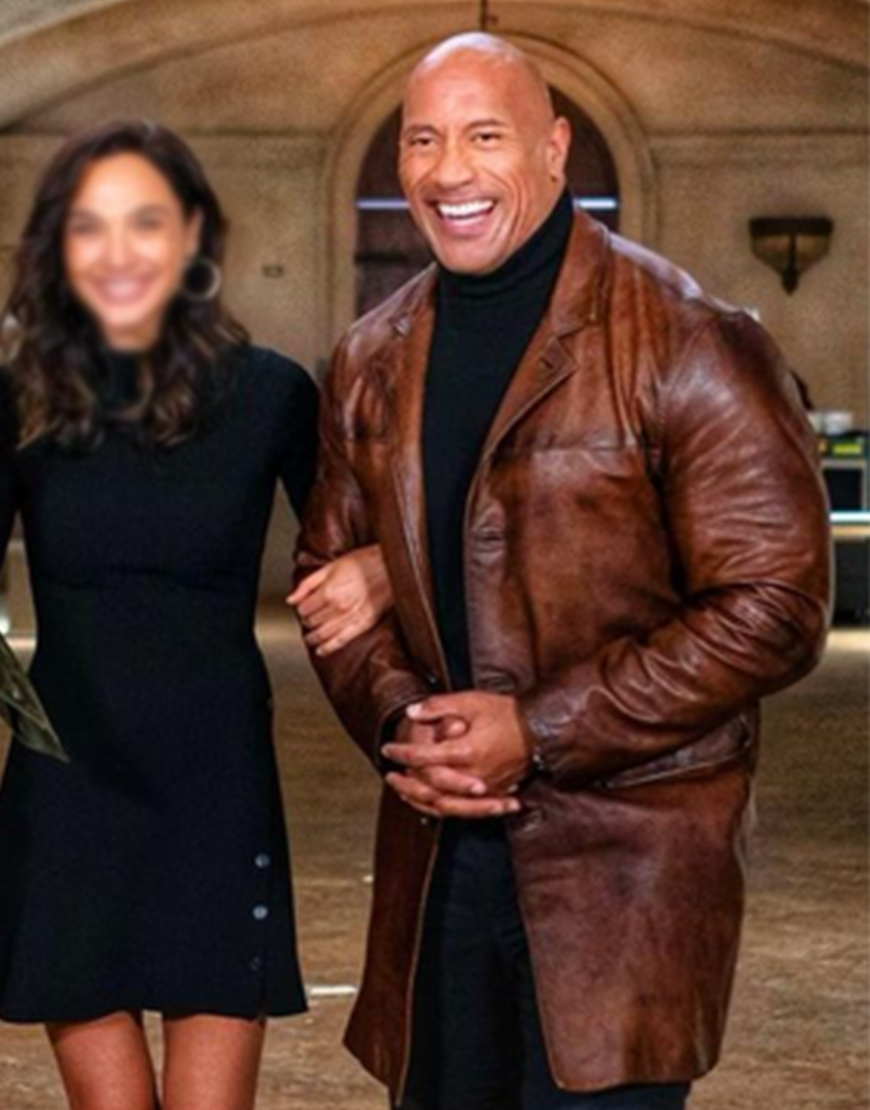 Dwayne Johnson Movie Red Notice 2021 Brown Leather Coat