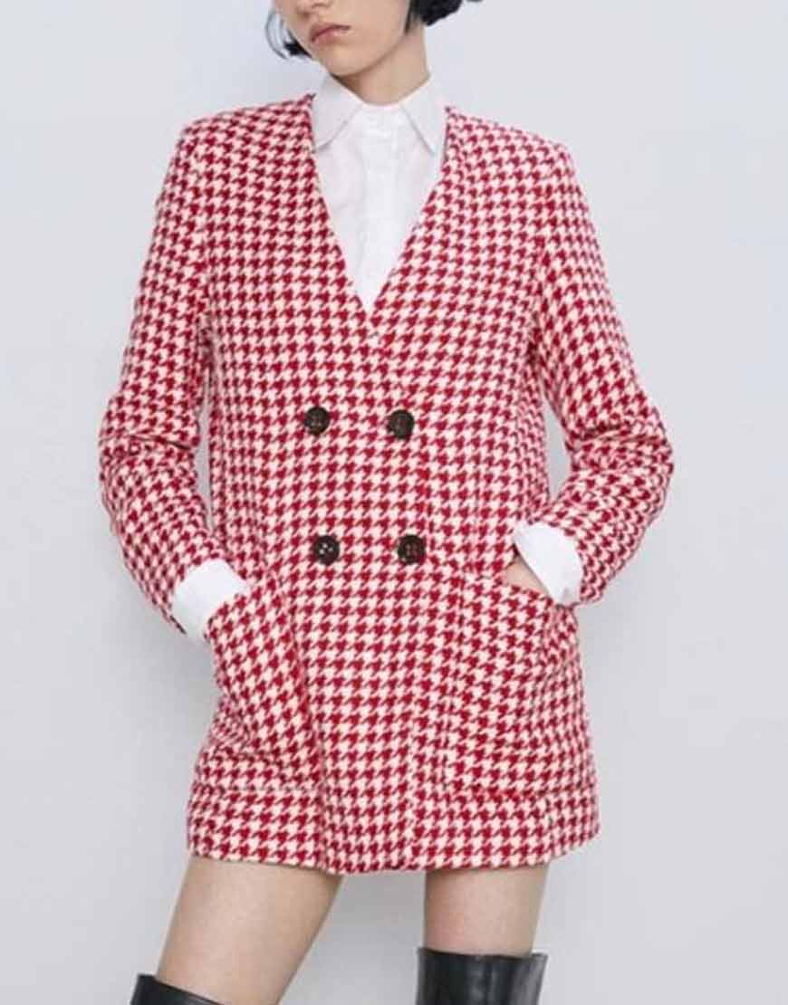 Emily-Copper-Emily-In-Paris-Lily-Collins-Double-Breasted-Houndstooth-Coat