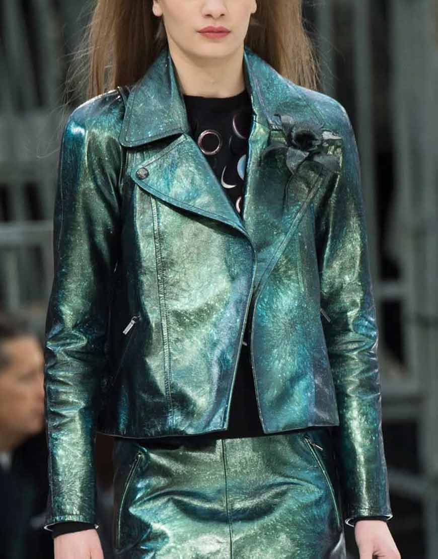 Emily-In-Paris-Emily-Copper-Green-Metallic-Moto-Jacket