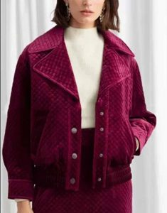 Emily-In-Paris-Lily-Collins-Maroon-Jacket