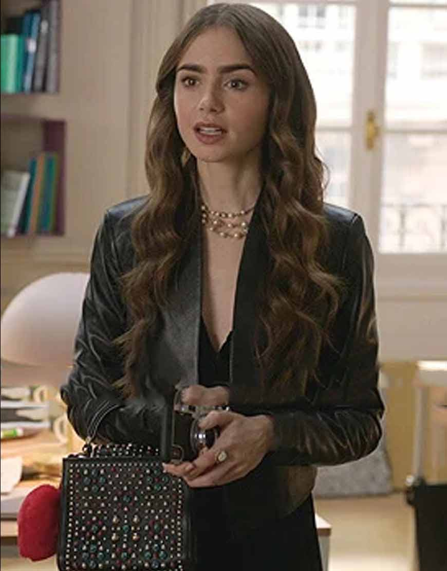 Emily-in-Paris-Lily-Collins-Black-Jacket