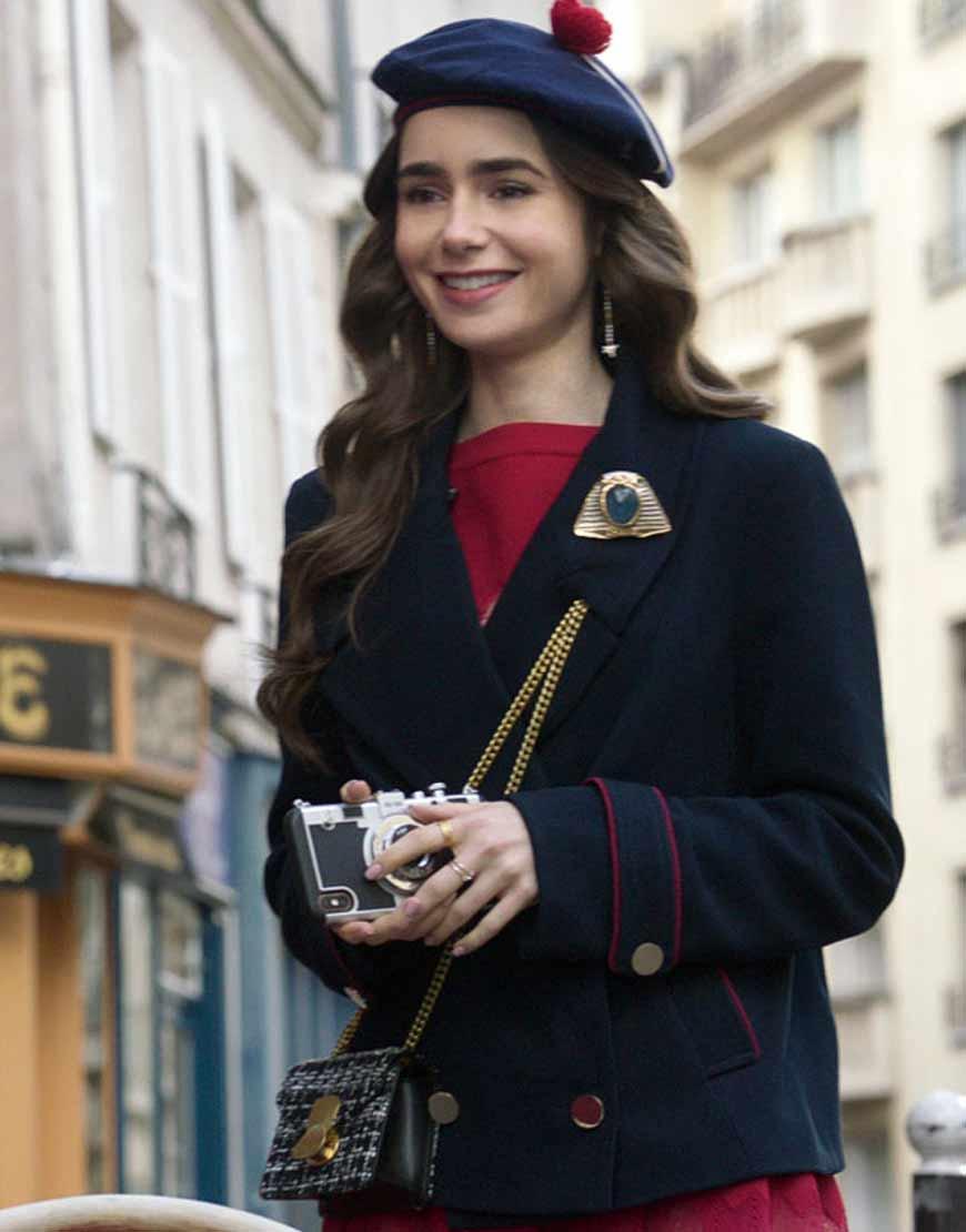 Emily-in-Paris-Lily-Collins-Blue-Blazer-Coat