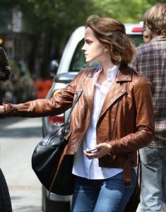 Emma-Watson-Brown-Leather-Jacket