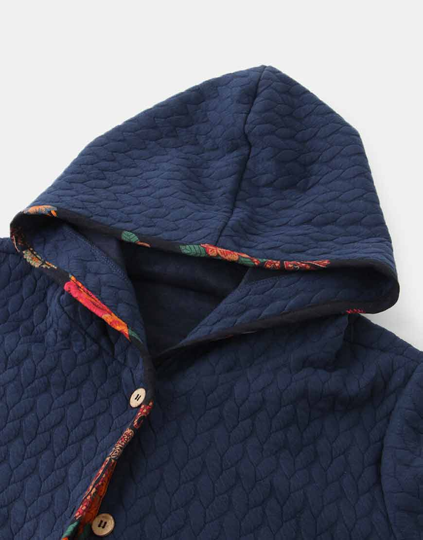Floral-Print-Long-Sleeve-Jacquard-Hooded-Coat