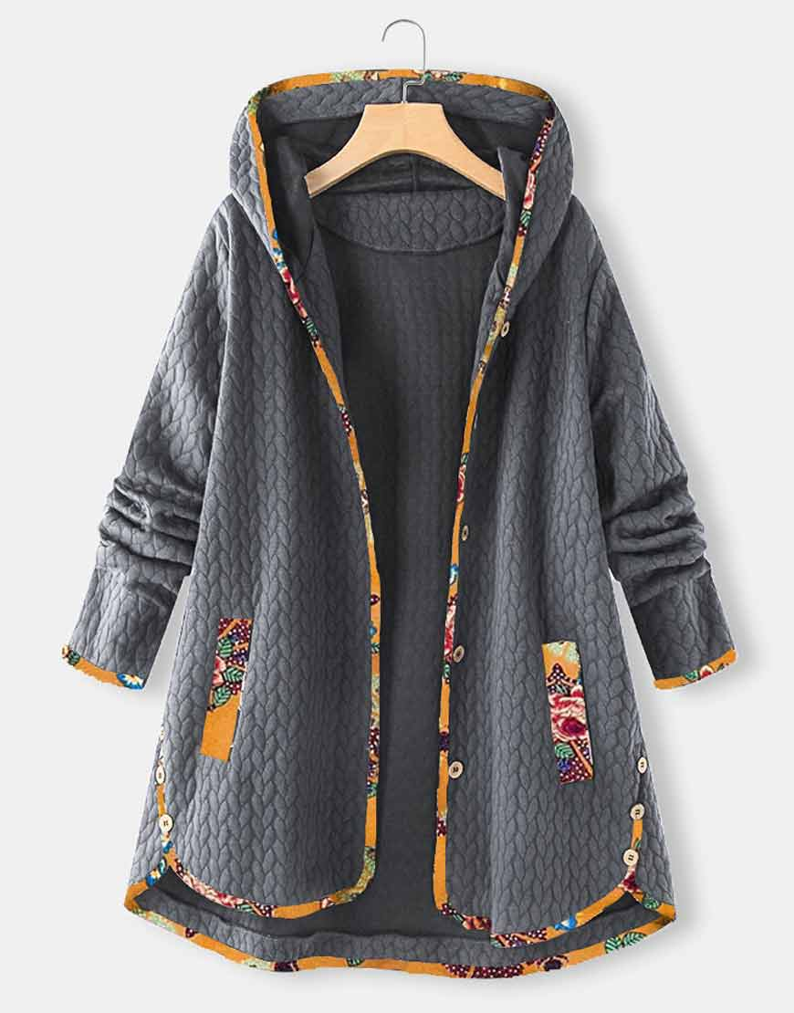 Floral-Print-Patchwork-Grey-Jacquard-Hooded-Coat