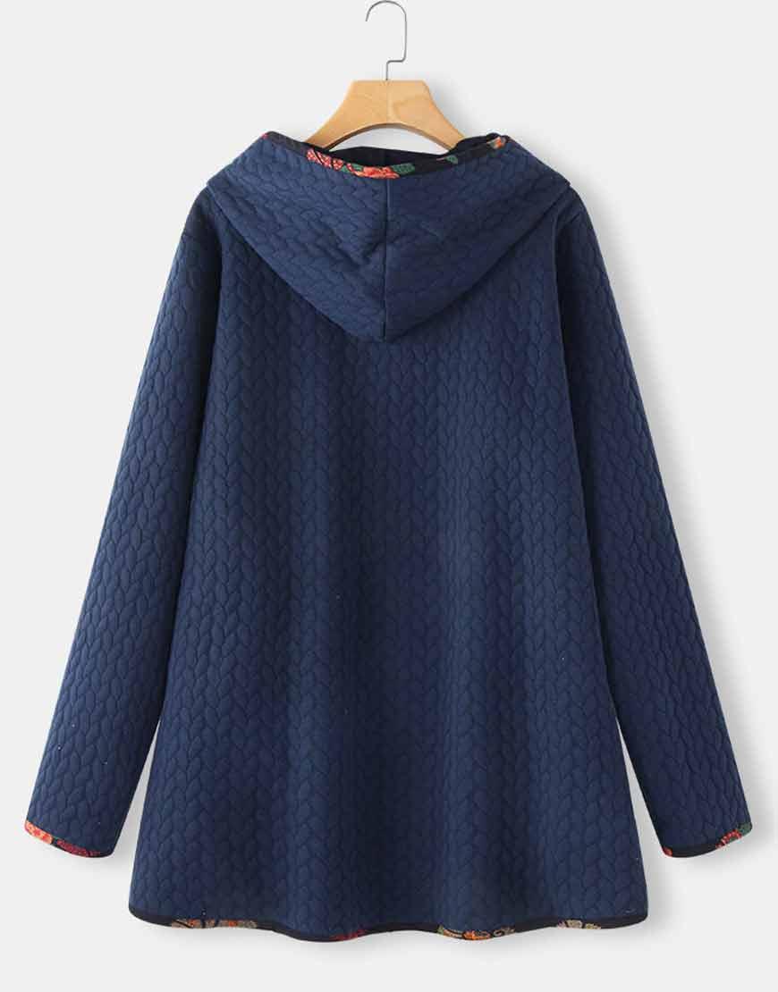 Floral-Print-Patchwork-Long-Sleeve-Blue-Jacquard-Hooded-Coat