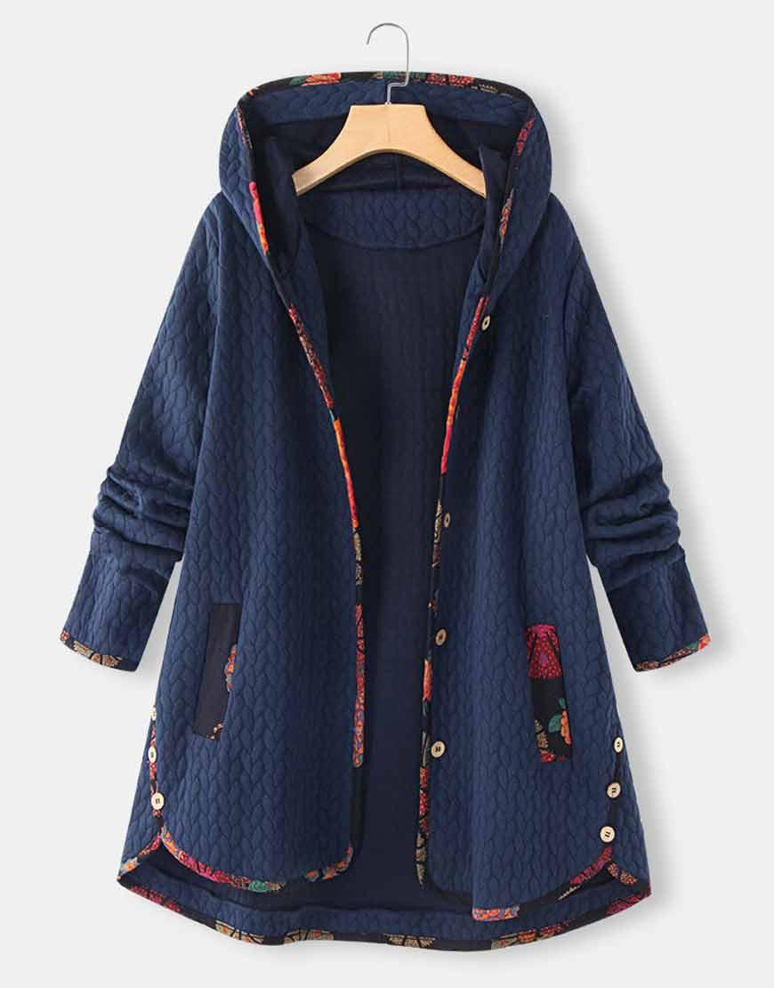 Floral-Print-Patchwork-Long-Sleeve-Jacquard-Hooded-Coat
