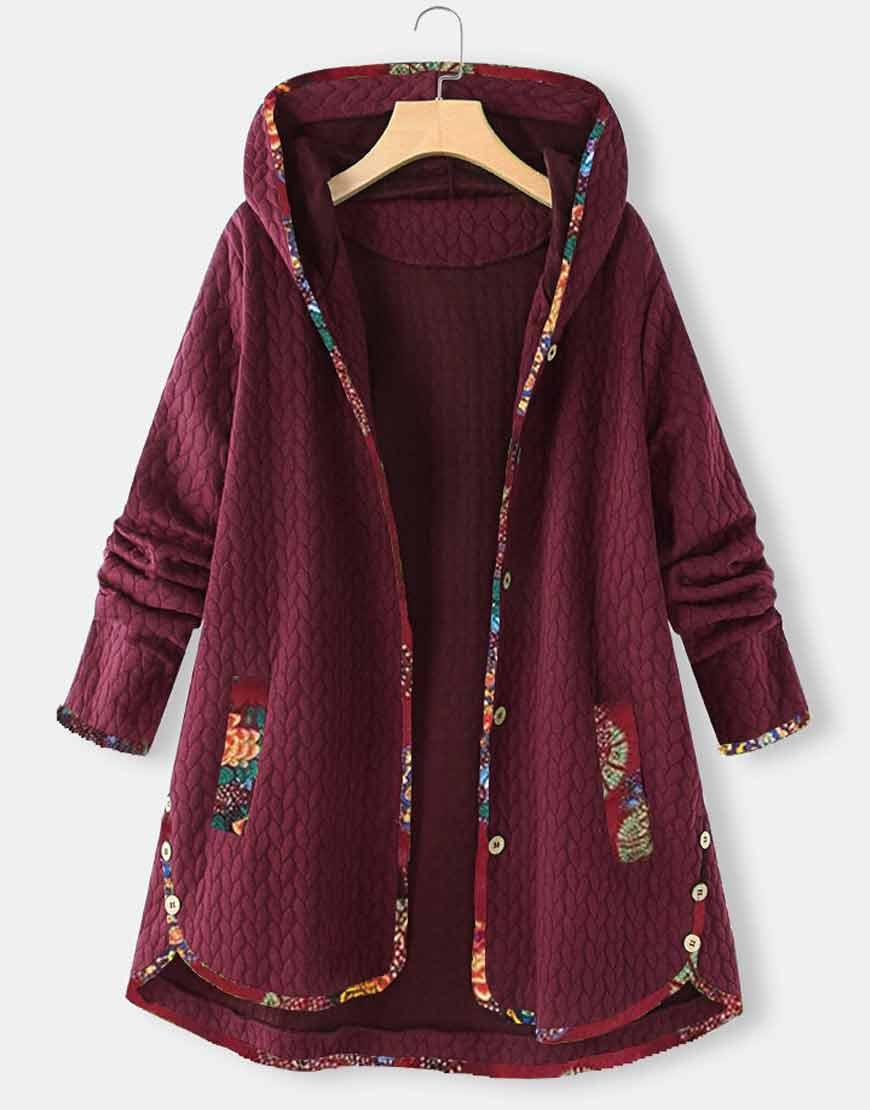 Floral-Print-Patchwork-Maroon-Jacquard-Hooded-Coat