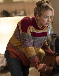 Free-Guy-Jodie-Comer-Maroon-Sweater