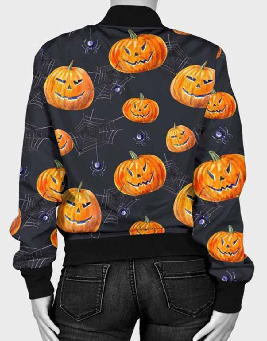 Halloween-Pumpkin-Spider-Bomber-Jacket
