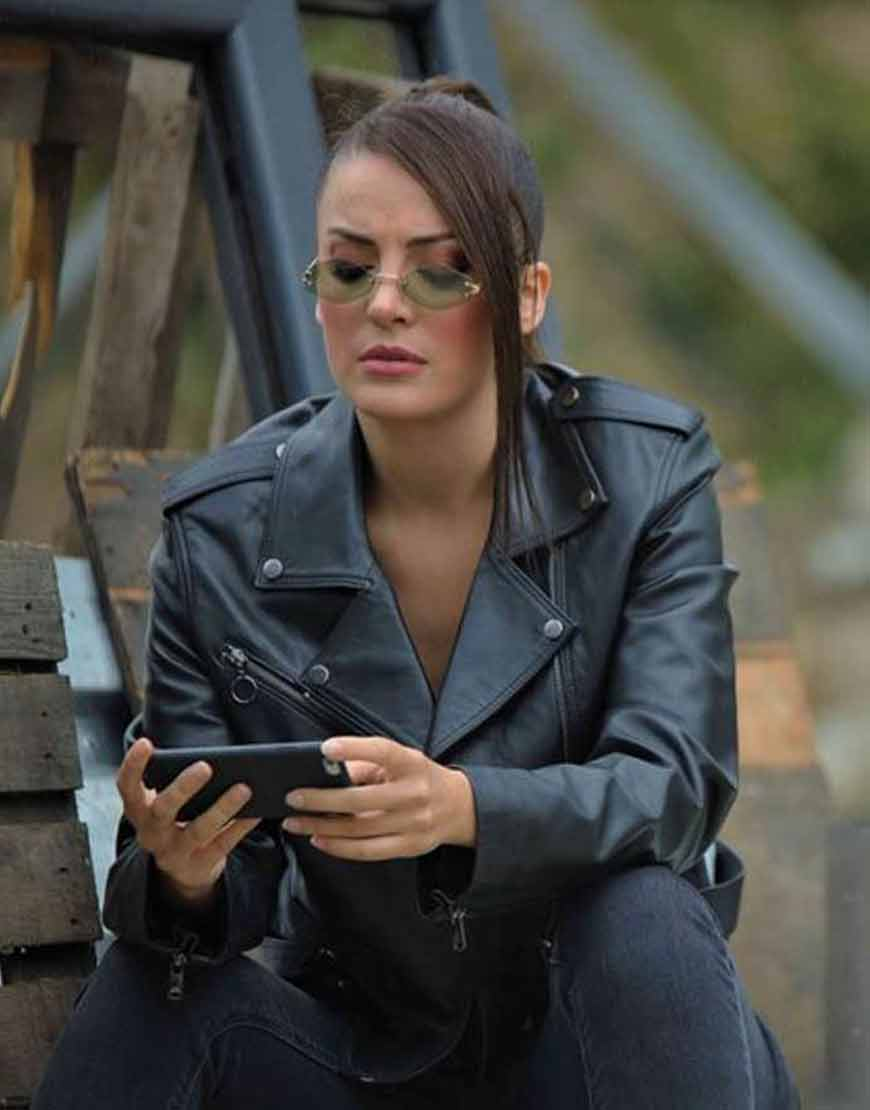 Irem-Sak-Black-Çukur-S04-Seren-Erdenet-Leather-Jacket