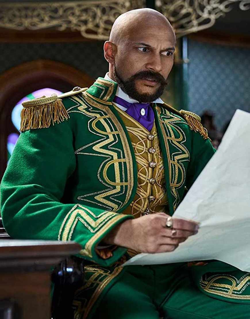 Jingle-Jangle-Keegan-Michael-Key-Embroidered-Green-Trench-Coat