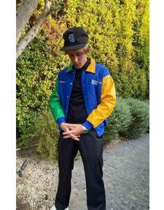Justin-Bieber-Formula-1-Yellow-Blue-Jacket