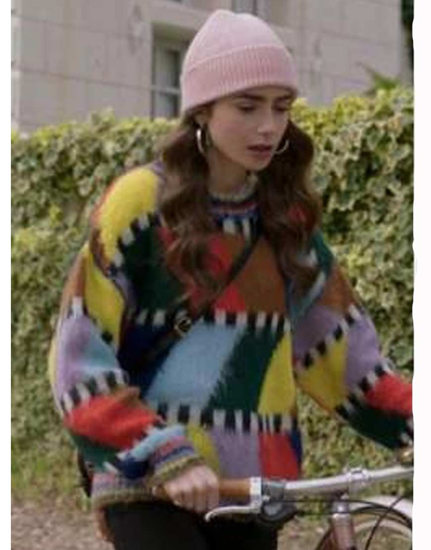 Lily-Collins-Emily-In-Paris-Fluffy-Sweater