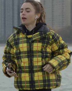 Lily-Collins-Emily-in-Paris-Yellow-plaid-jacket