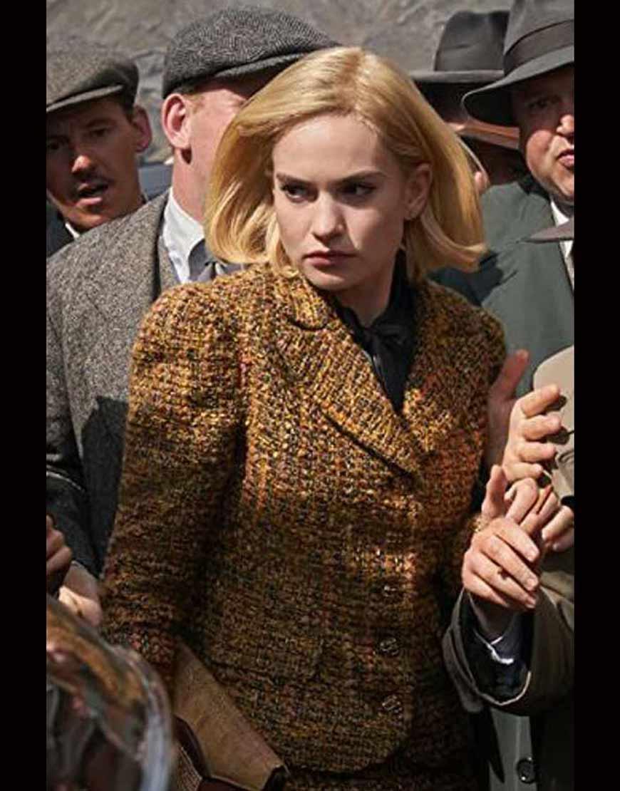 Lily-James-Rebecca-Mrs.-de-Winter-Tweed-Brown-Blazer-Jacket