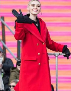 Meg-Donnelly-100th-Thanksgiving-Day-Red-Coat