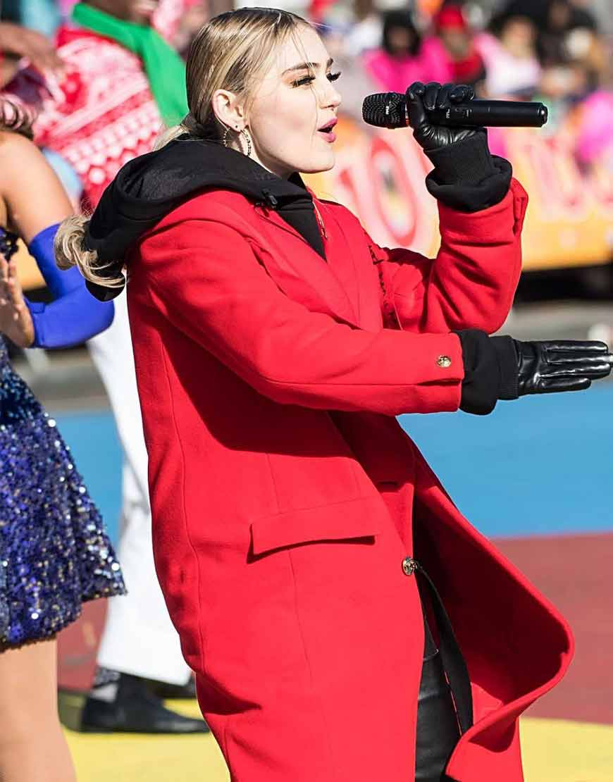 Meg-Donnelly-100th-Thanksgiving-Day-Red-Long-Coat