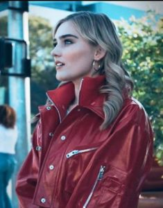 Meg-Donnelly-Red-Leather-Bikers-Jacket