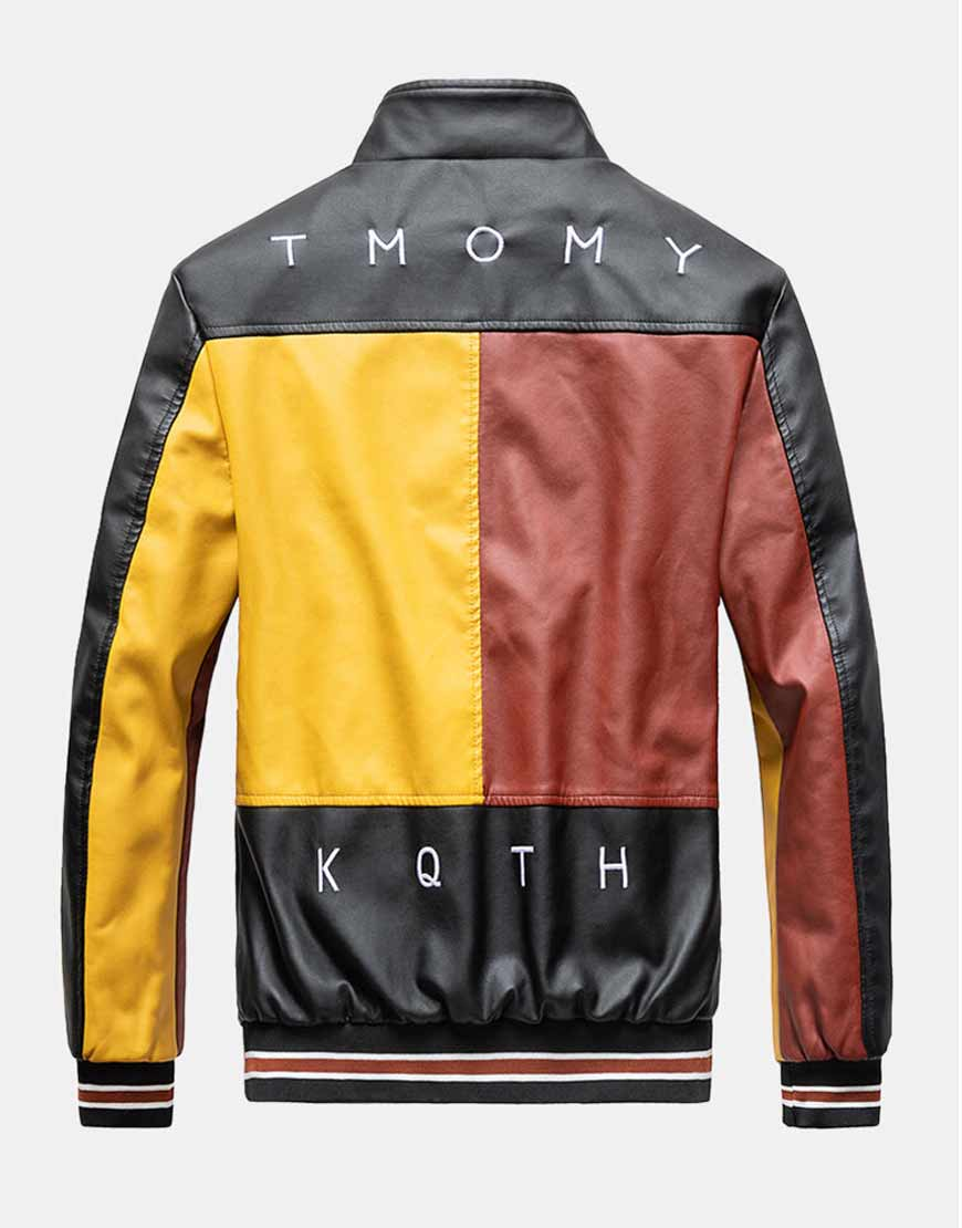 Mens-Colorblock-PU-Leather-Jackets