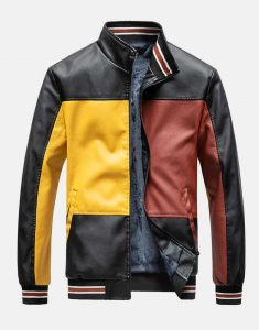 Mens-Colorblock-Patchwork-PU-Leather-Jackets