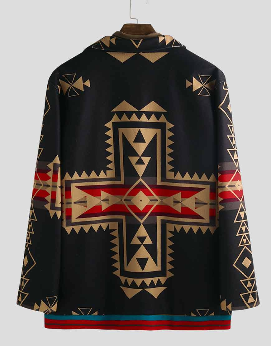 Men's-Ethnic-Style-Printed-Black-Casual-Coat