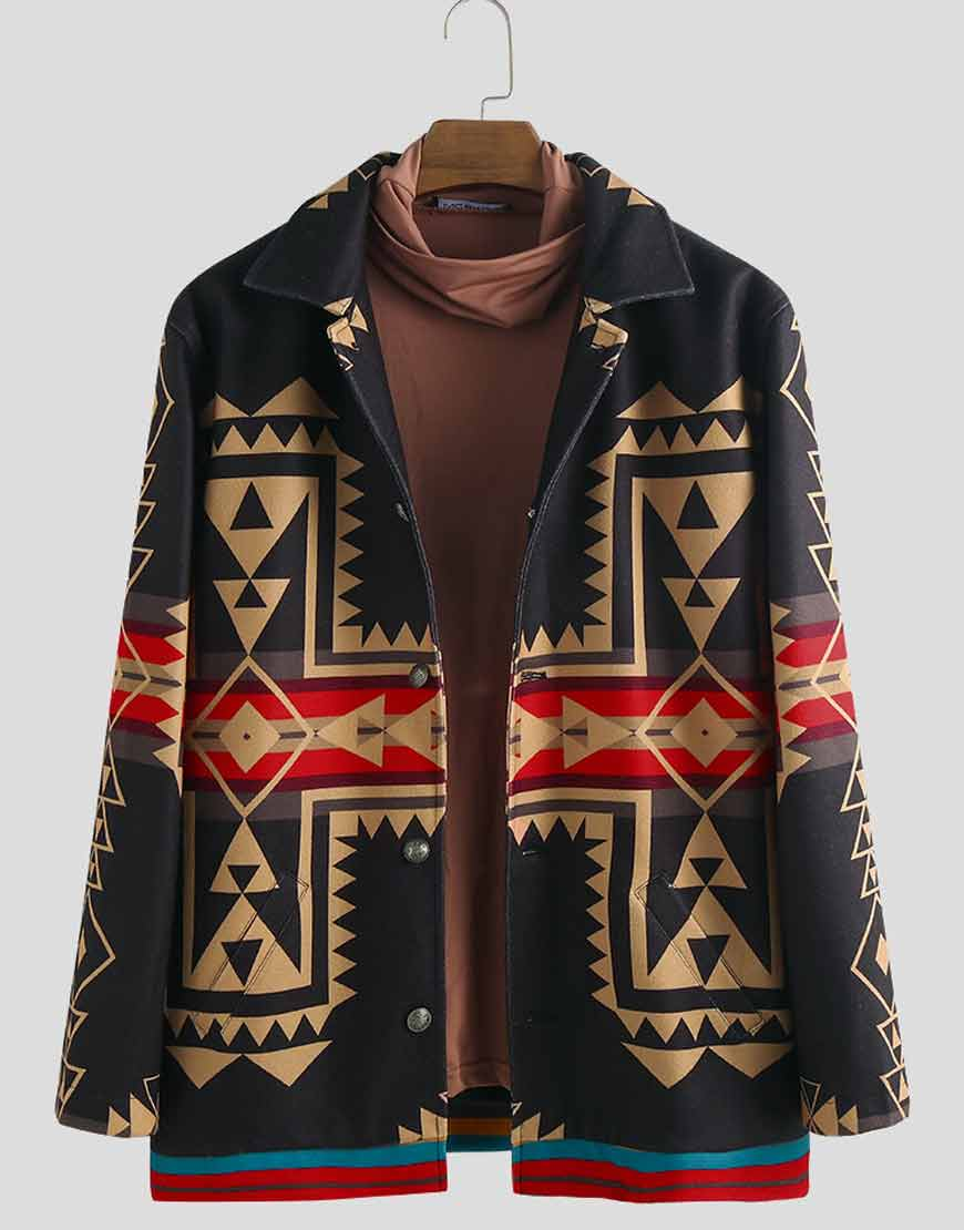 Men's-Ethnic-Style-Printed-Casual-Coat