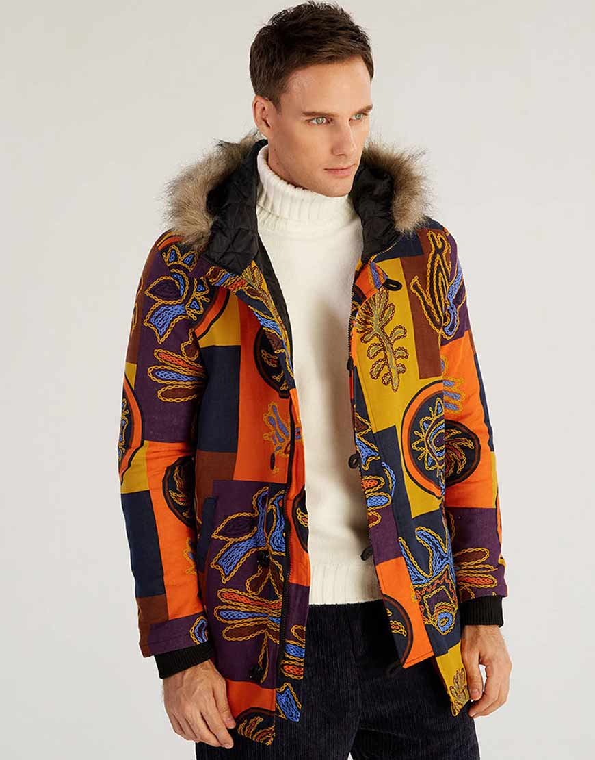 Mens-Ethnic-Style-Printed-Hooded-Coat