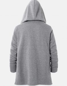 Mens-Zipper-Front-Irregular-Hem-Grey-Hooded-Jacket