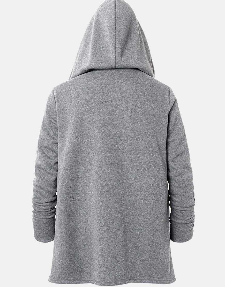 Mens-Zipper-Front-Irregular-Hem-Grey-Hooded-Jacket