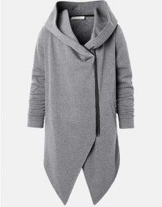 Mens-Zipper-Front-Irregular-Hem-Mid-Length-Hooded-Jacket