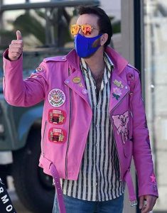 Nicholas-Cage-Pink-Leather-Moto-Patched-Jacket