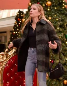 Sloane Holidate 2020 Emma Roberts Black Plaid Coat