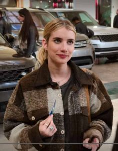 Sloane-Holidate-Emma-Roberts-Brown-Plaid-Jacket
