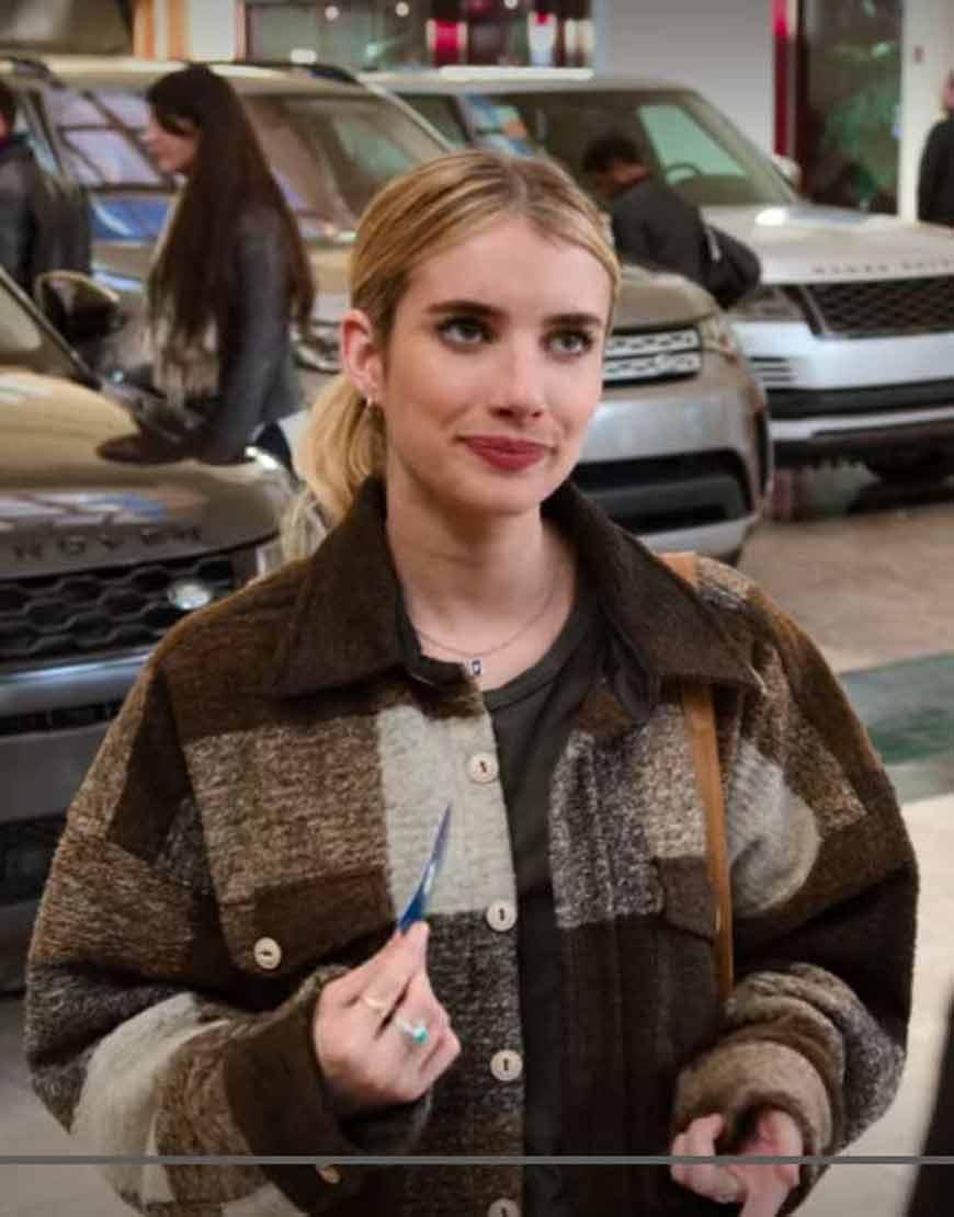 Sloane-Holidate-Emma-Roberts-Brown-Plaid-Jacket