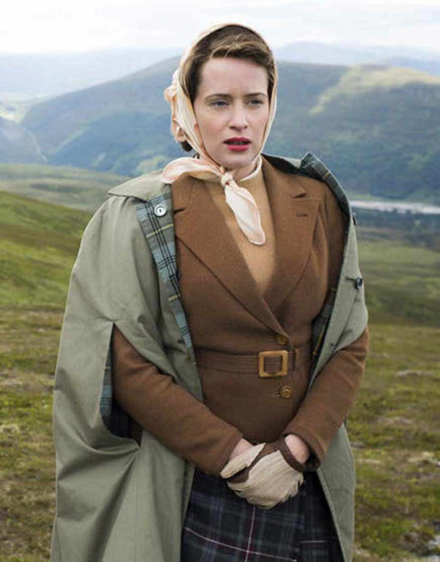 The-Crown-Claire-Foy-Brown-Belted-Jacket
