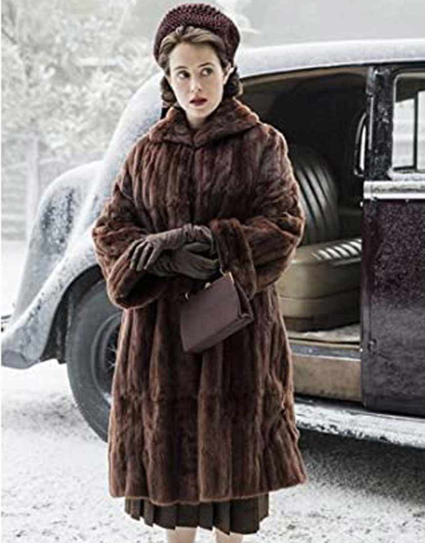 The-Crown-Claire-Foy-Brown-Shearling-Coat
