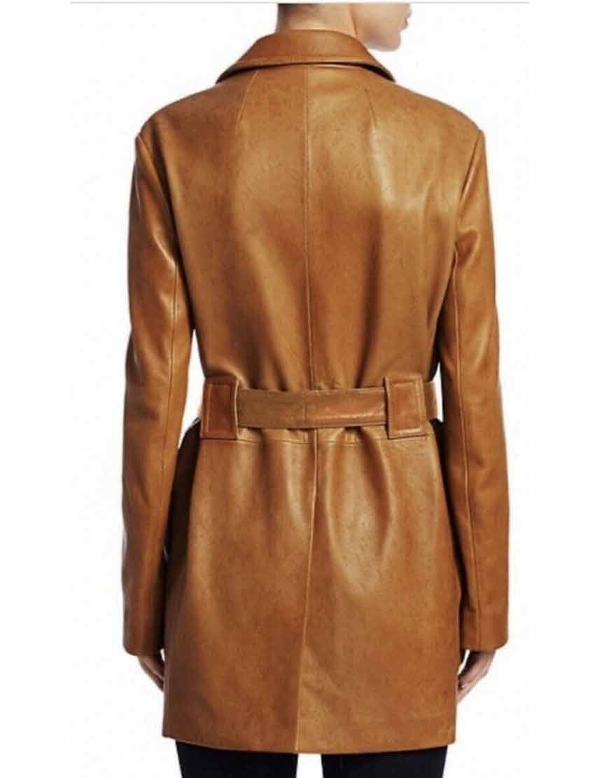 The-Flight-Attendant-Brown-Leather-Coat