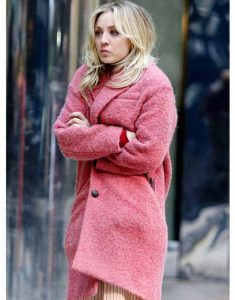 The-Flight-Attendant-Cassie-Pink-Woolen-Trench-Coat