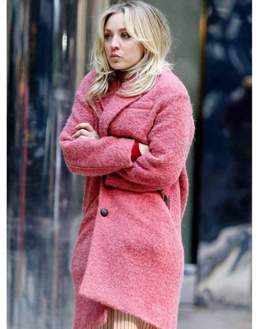 The-Flight-Attendant-Cassie-Pink-Woolen-Trench-Coat