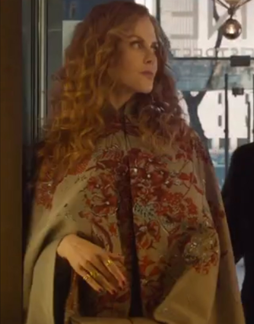 The Undoing Nicole Kidman Embroided Grey Cape Coat