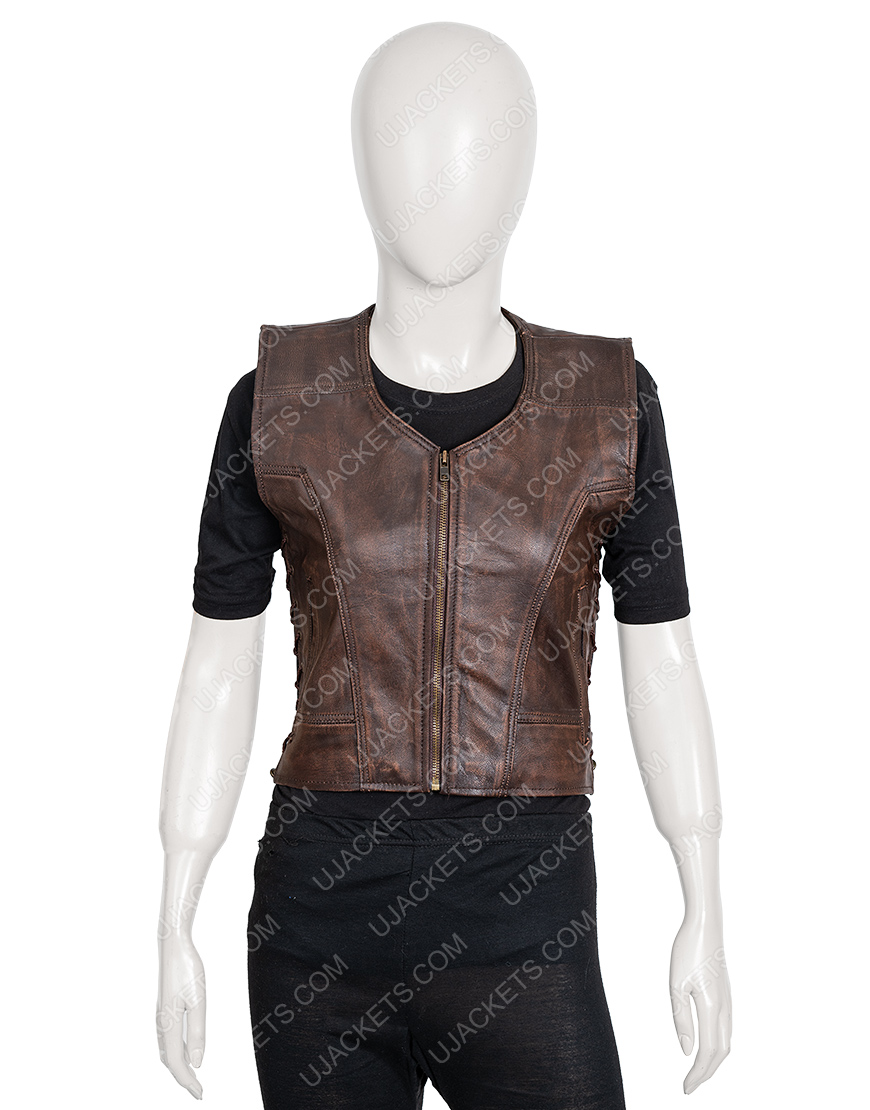 The Walking Dead Danai Gurira Michonne Brown Leather Vest