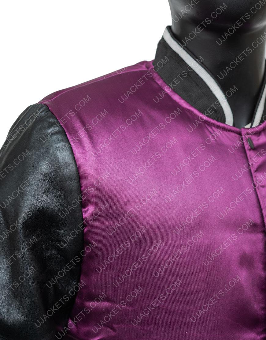 TheWeeknd H&M Purple Satin Varsity Jacket