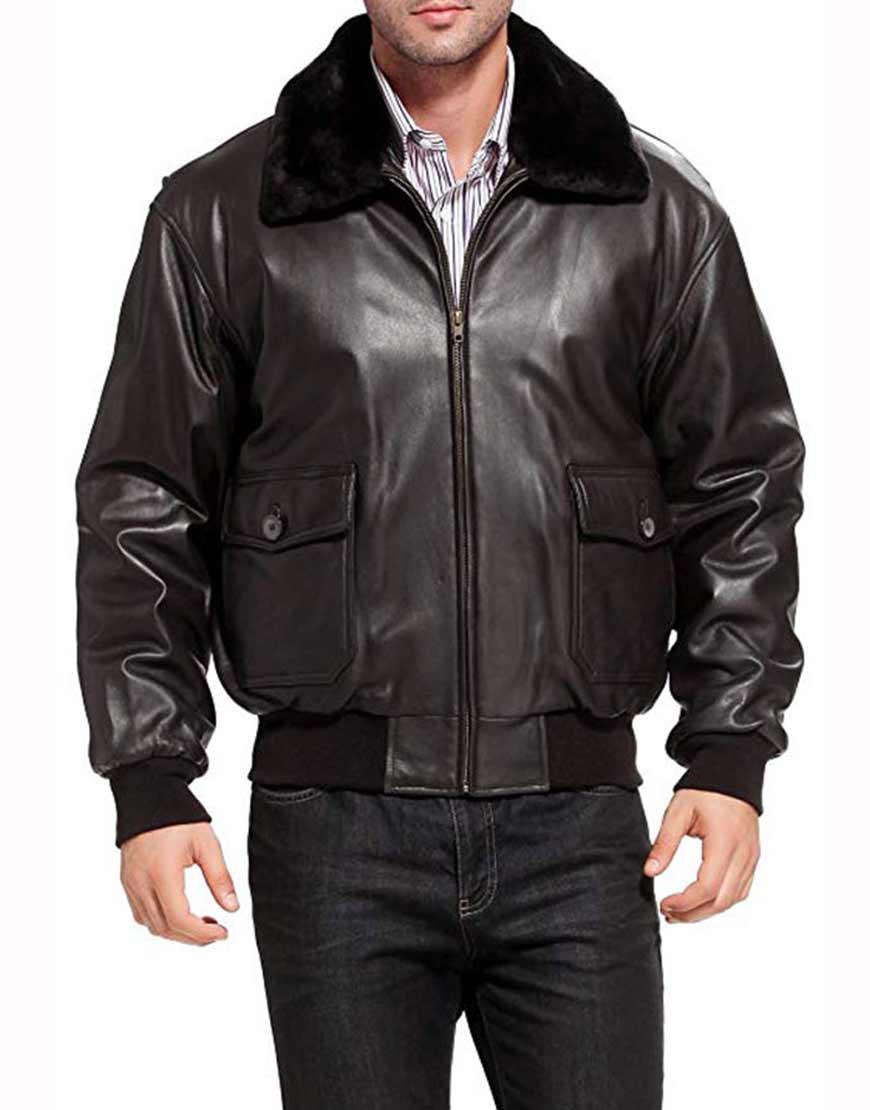 U.s-Navy-G-1-Aviator-Black-Leather-Jacket
